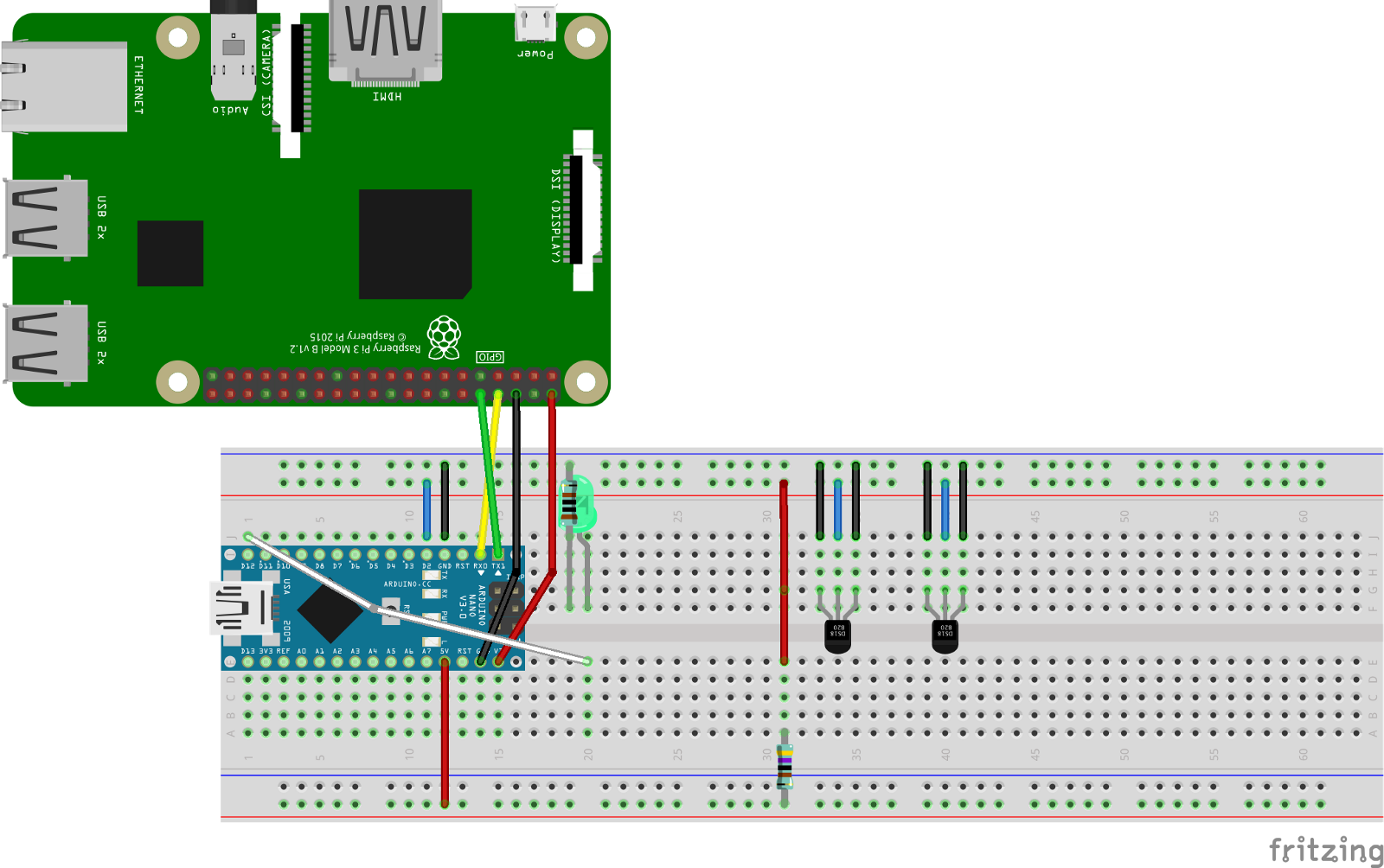 Recording Remote Temperatures With Androidthings Arduino And Firebase Download Image 5vdc Power Supply Circuit Diagram Of Pc Android The Nano Is Being Powered By Raspberry Pi It Has Its Tx Rx Connected To Pins In Addition Pis 5v