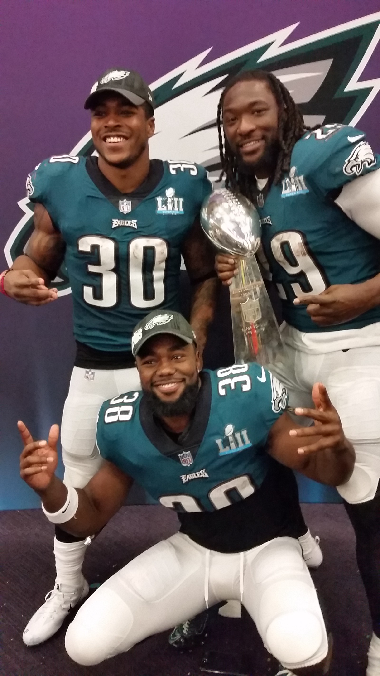 Corey Clement LeGarrette Blount And Kenjon Barner Celebrate With The Lombardi Trophy Photo By Al Thompson