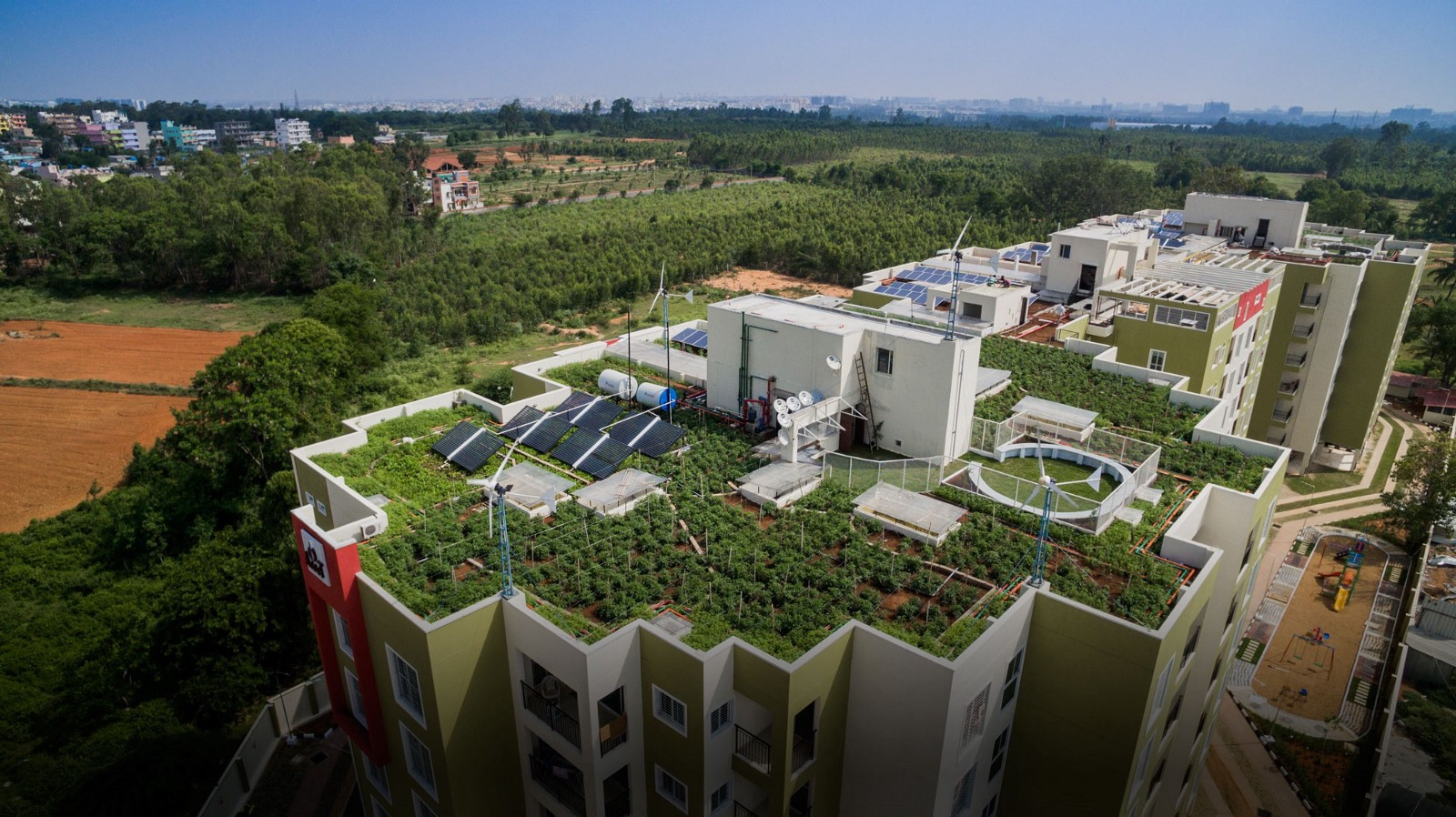 rooftop view of green rated apartment building