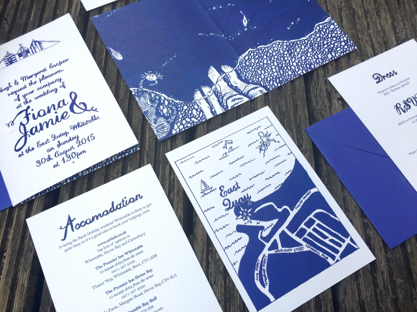 Wedding invitations designed by shillington graduates emily kerrs hand lettering and custom illustration for this wedding invitation set really captures the feel of a summer nautical wedding solutioingenieria Image collections