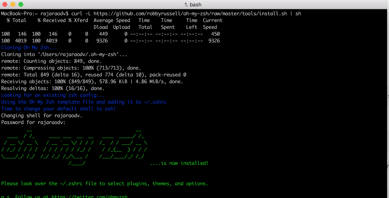 Oh My ZSH Is Installed