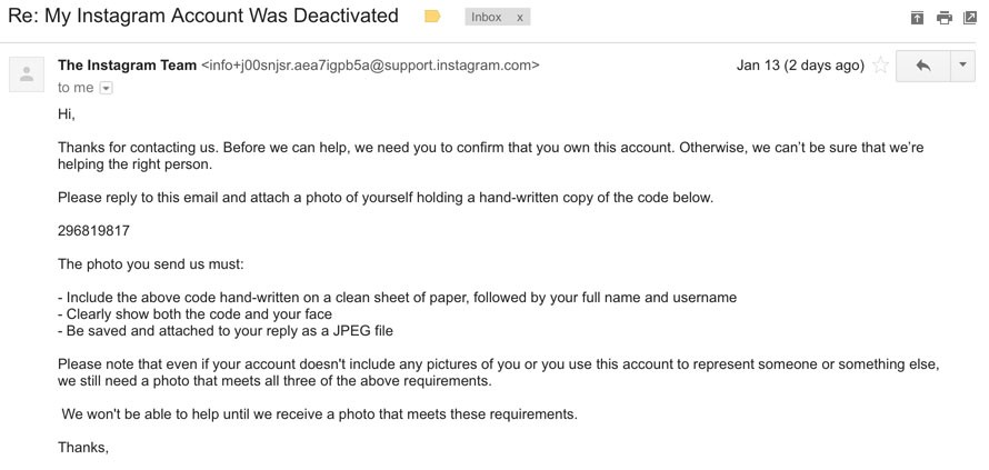 How i reactivated my disabled instagram account in 3 days an hour later i received another email from instagram asking me to send evidence that i am a real person and am associated with my account ccuart Image collections