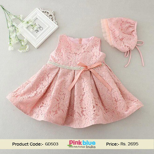 86e34b104 Classy 2Pcs Newborn Baby Girl Christening Dress with Complementing Bonnet  in Peach Color