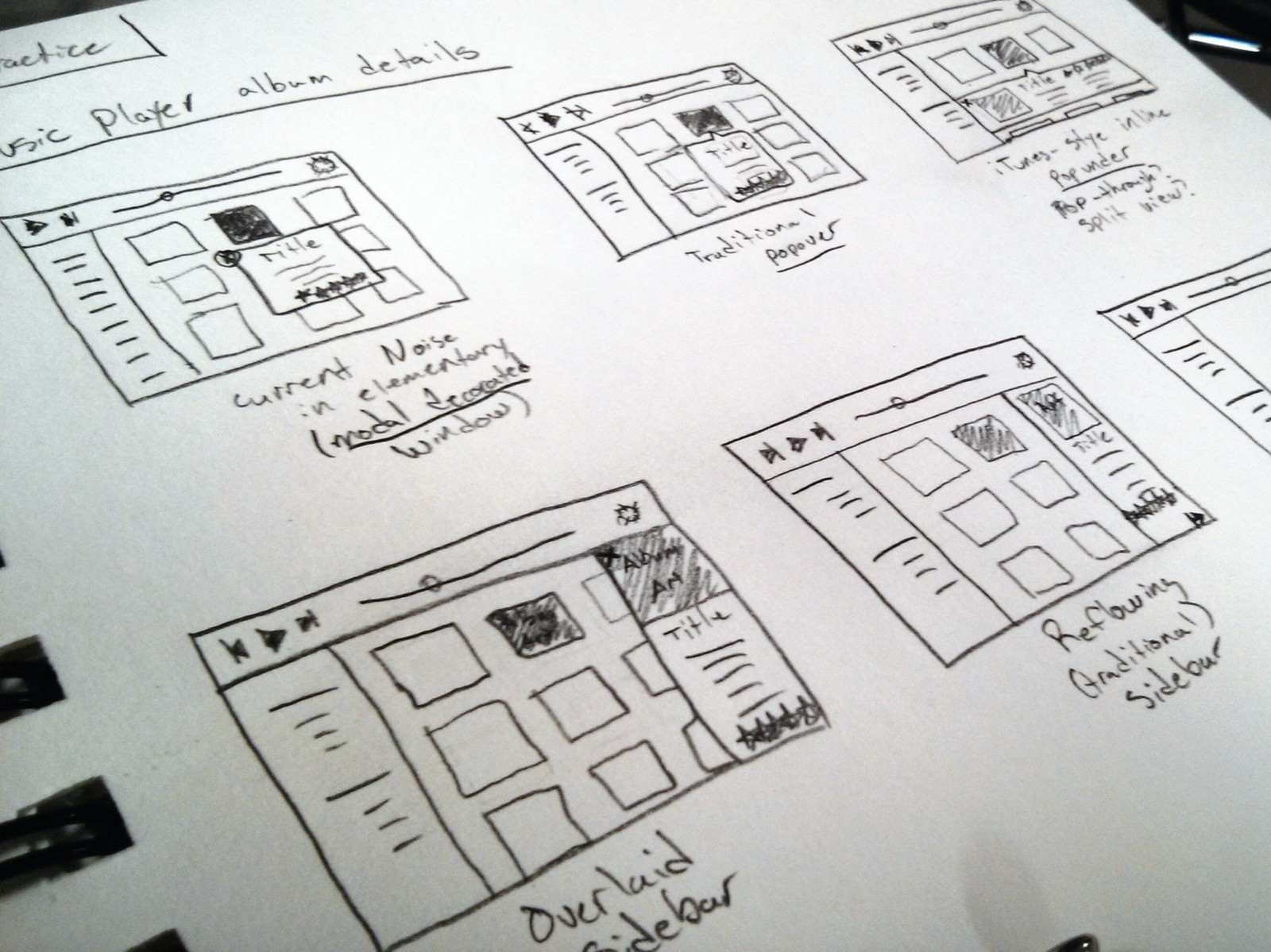 Sketches of potential Music layouts