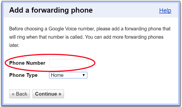 google account cell phone number