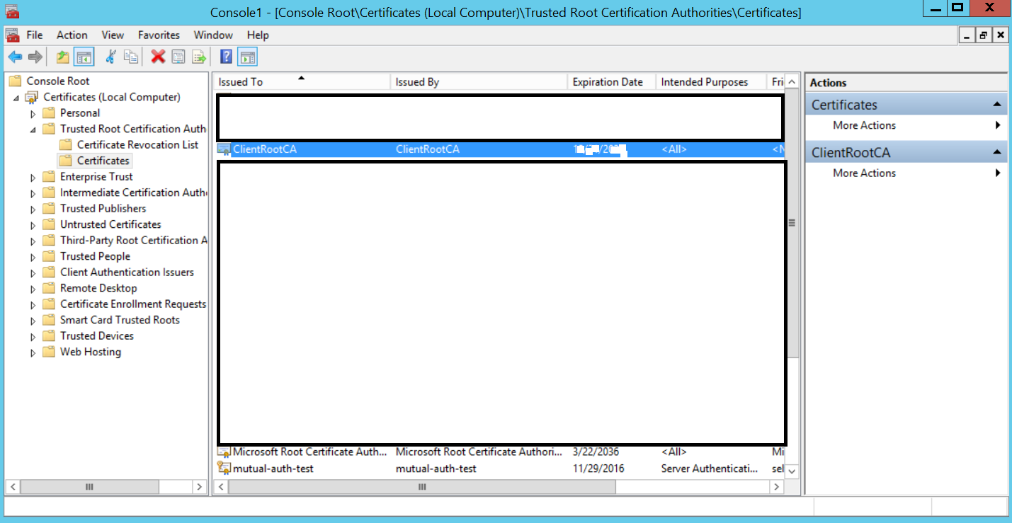 Configuring client certificates for mutual authentication on iis 8 now your root ca is trusted by you servery certificate signed by the root ca will be trusted from now on xflitez Image collections