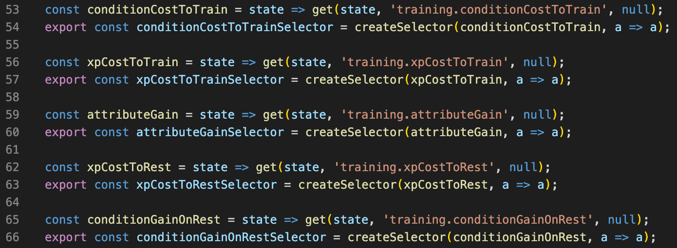 Snippet from selectors.js