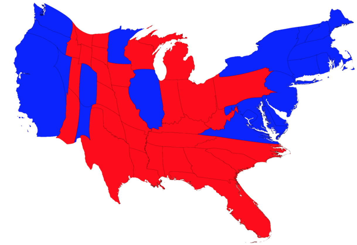 The Distortion Of The Electorate In The Electoral College - Electoral-college-map-us