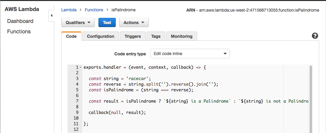 Going serverless how to run your first aws lambda function in the for the hard coded string value of racecar the lambda function returns racecar is a palindrome malvernweather Choice Image