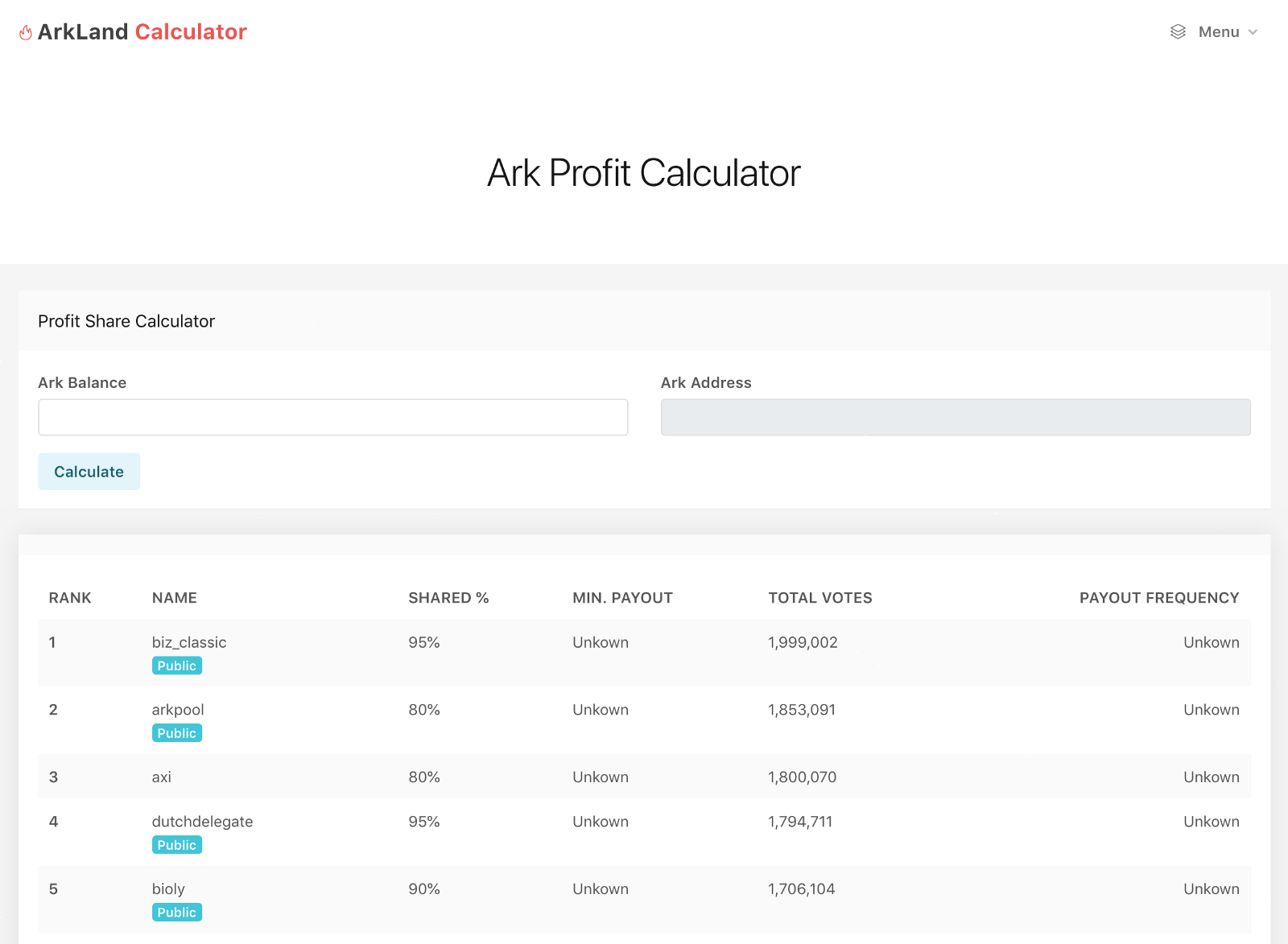 Introducing: ArkLand Calculator