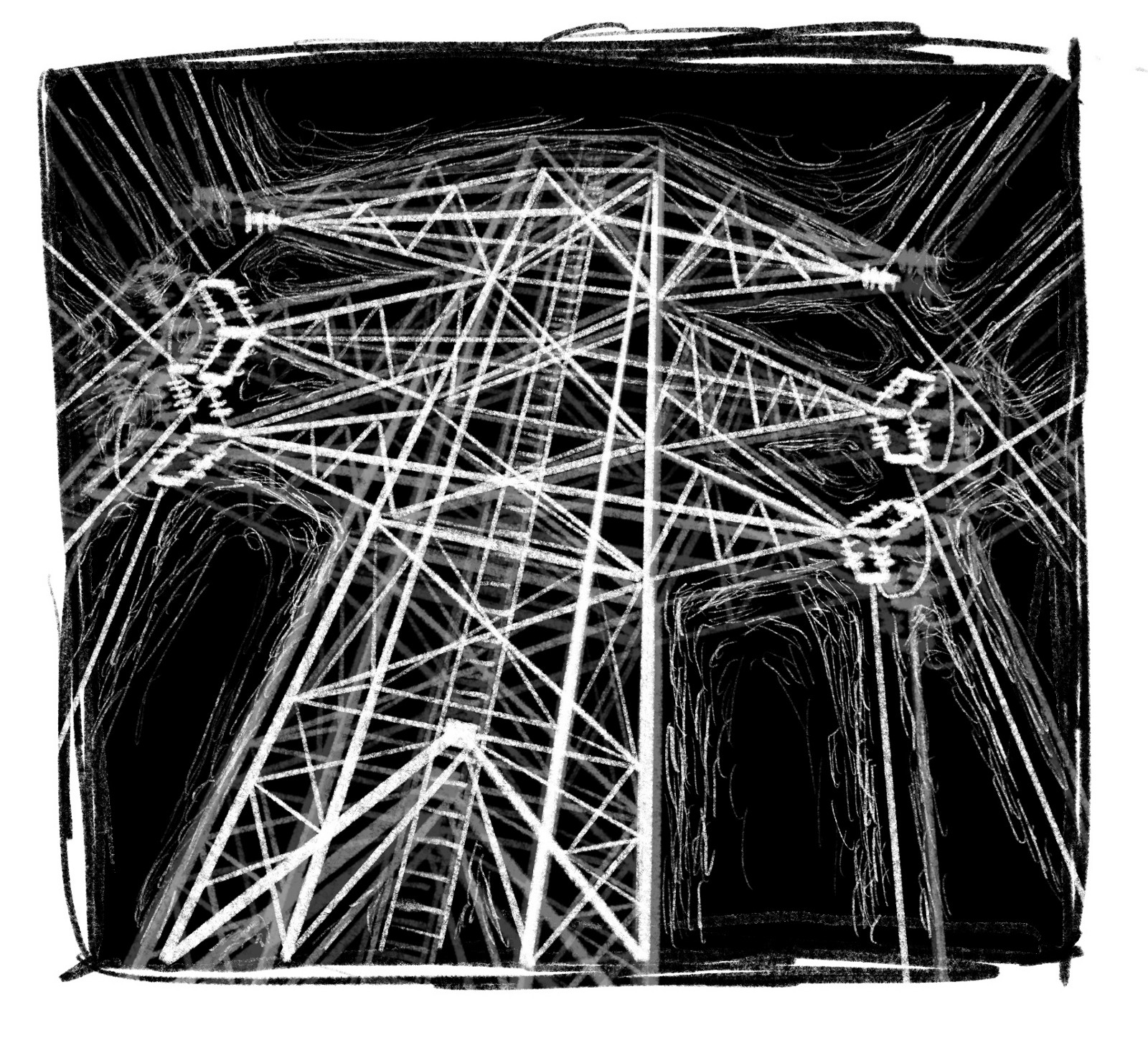 Image description: a drawing of a white transmission tower on a black background.