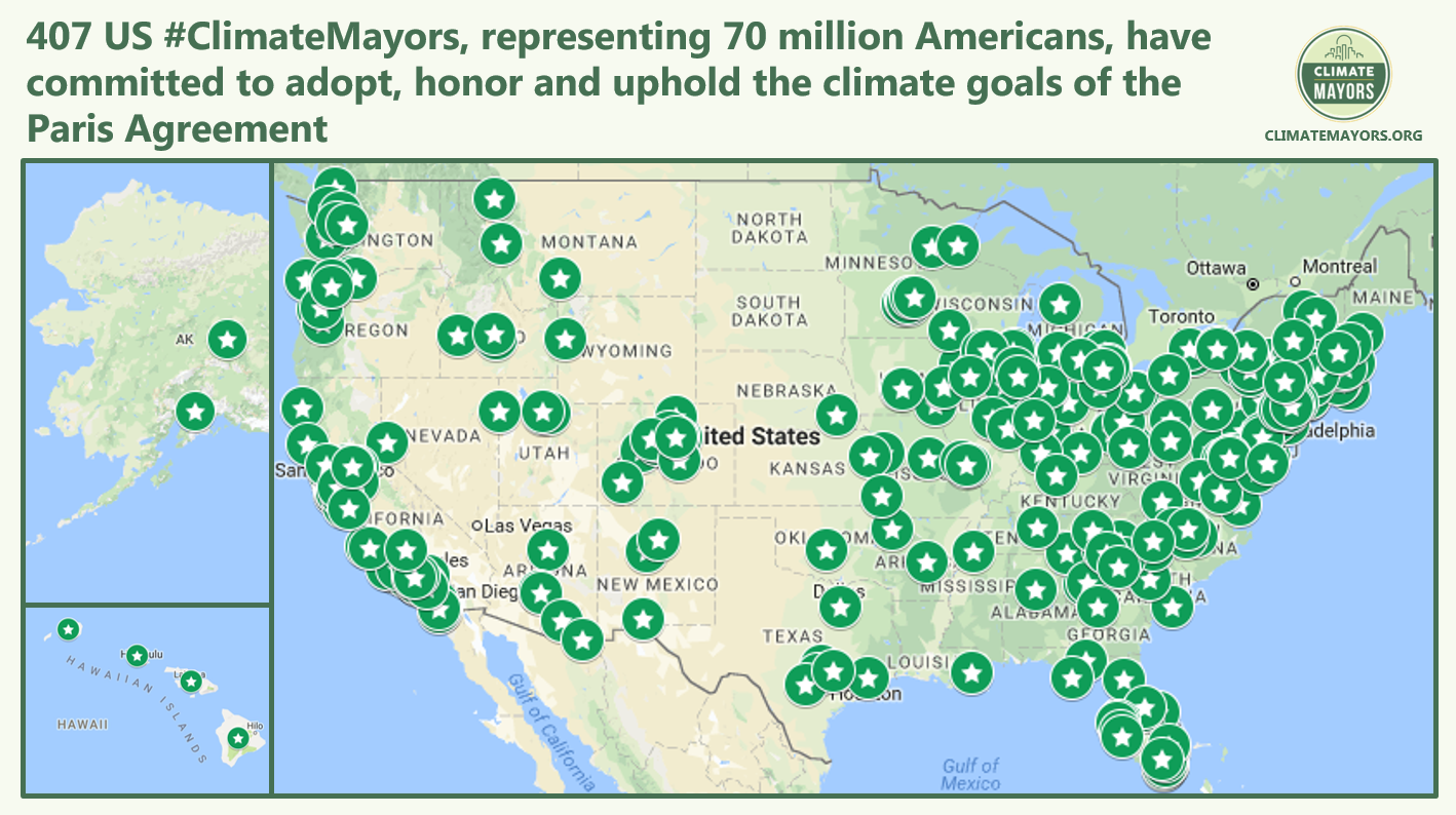 406 #ClimateMayors adopt, honor and uphold #ParisAgreement goals