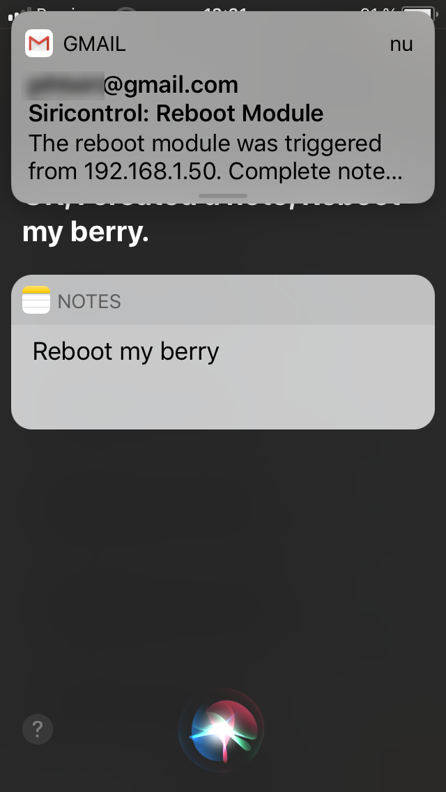the reboot command executed on my iPhone