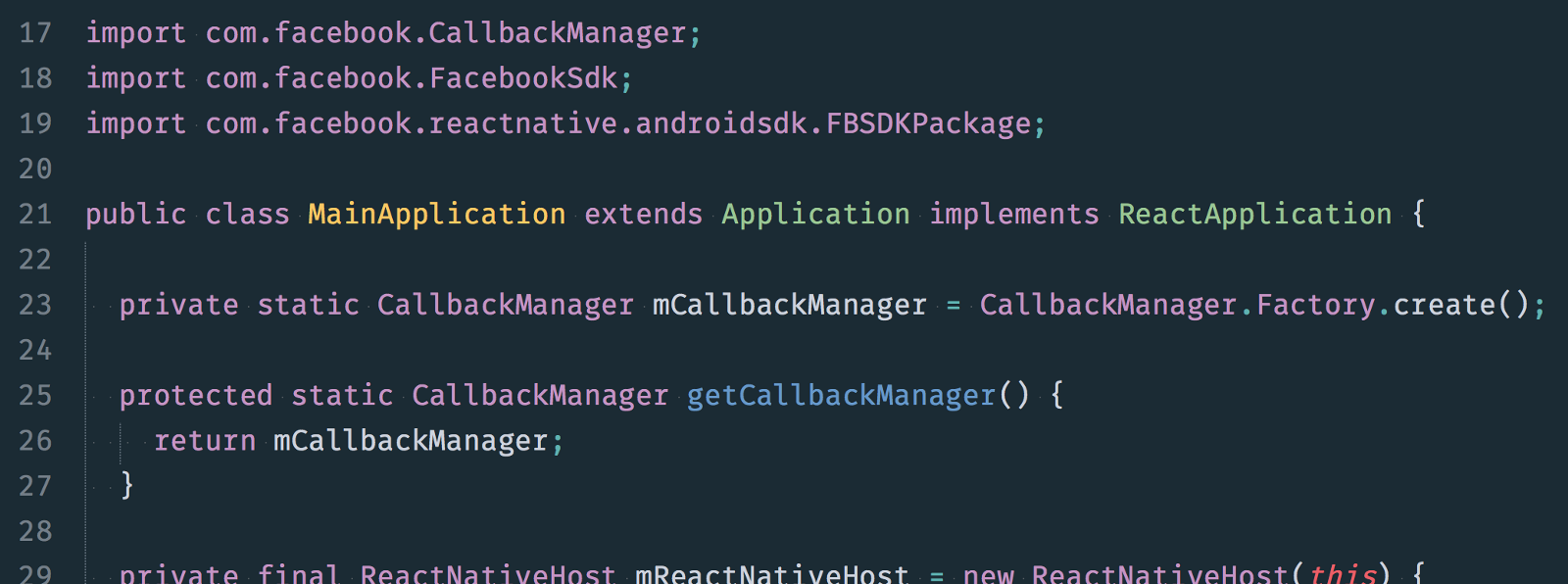 After adding the imports and the properties, your MainApplication class should resemble this