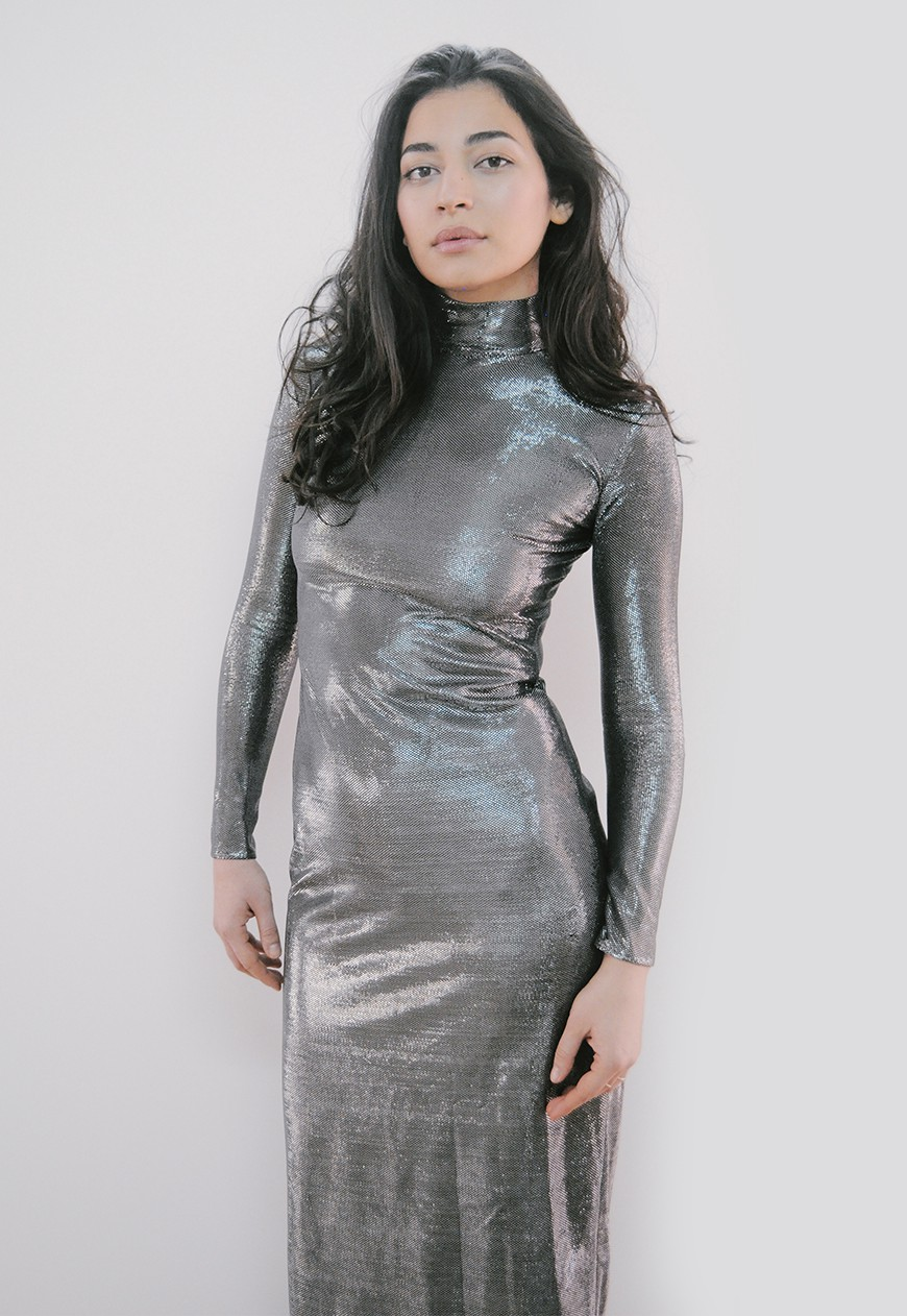 Silver turtleneck maxi dress