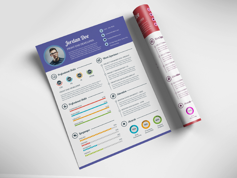 This Resume PSD Is The Super Clean, Modern And Professional Resume Cv  Template To Help You Land That Great Job. The Resume Have A Very Organized  And Named ...  Design Resume Templates Free