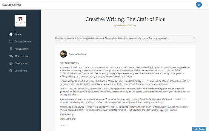 coursera creative writing wesleyan