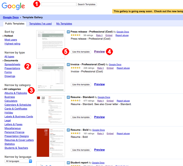 Google drives public templates are going away so get them while in the gallery you can pronofoot35fo Image collections