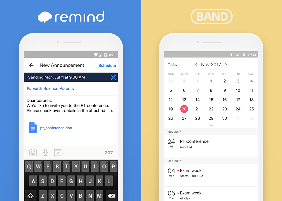 Remind vs band which is the better app for school teachers scheduling an event on remind left and on band right thecheapjerseys Choice Image