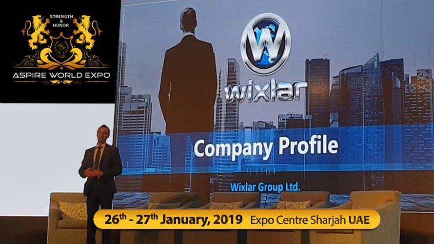 Wixlar CEO on Stage at the ASPIRE World Investments Expo in Sharjah