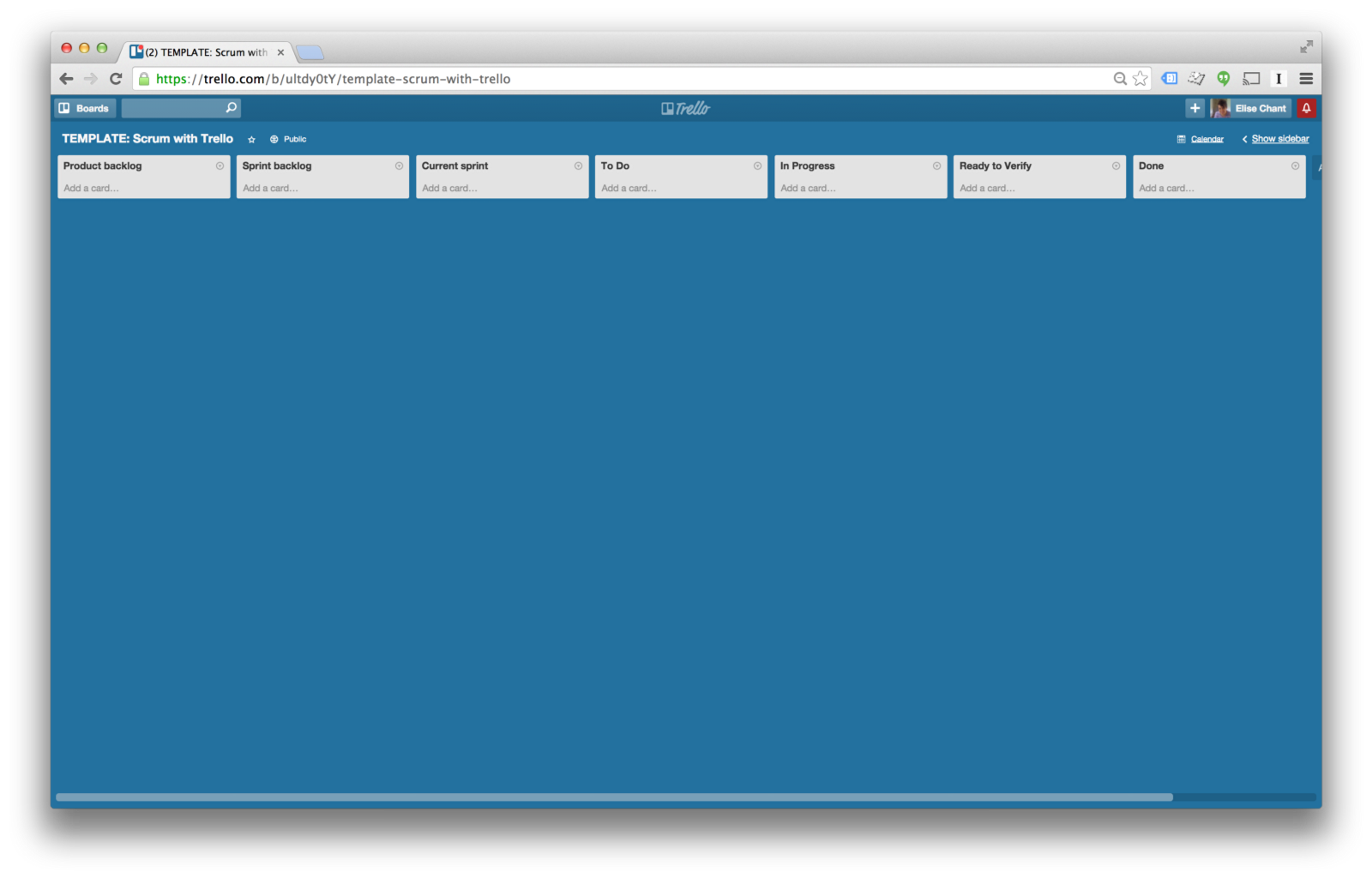 this board is public and you can access it at httptinyurlcomscrum with trello