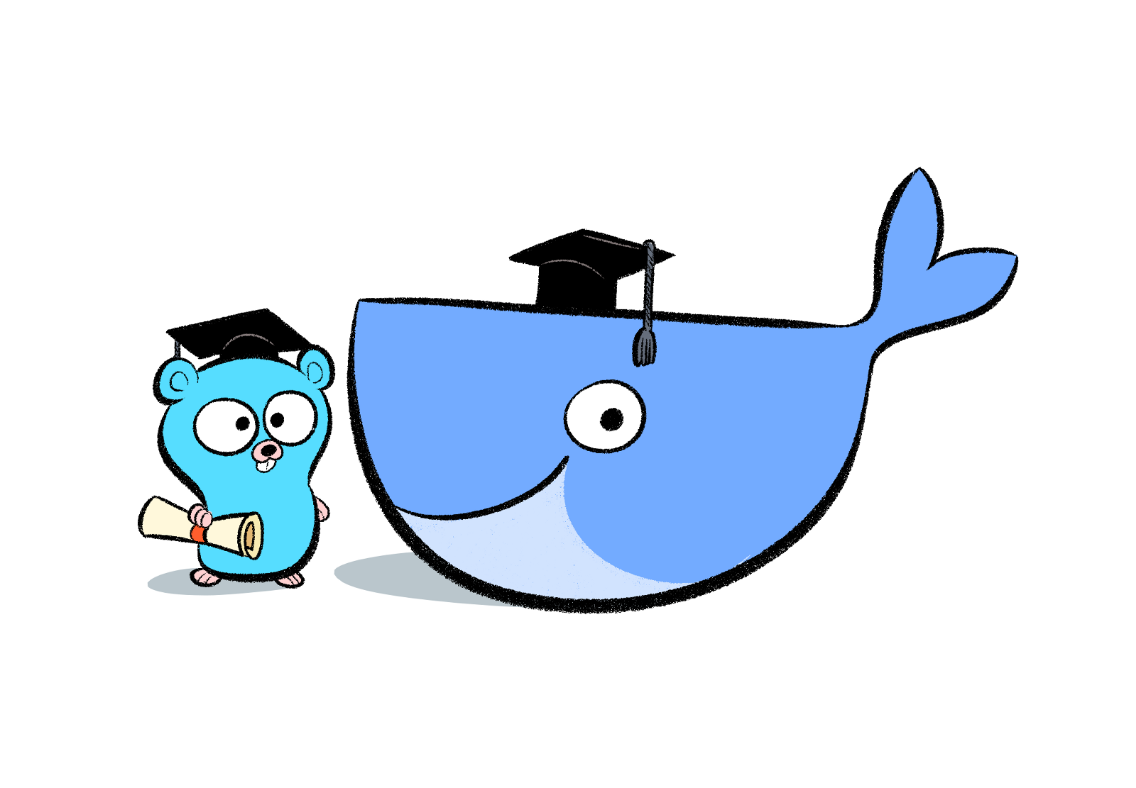 Cute Docker Whale with a Gopher