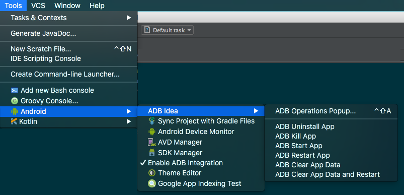 Clear the app data quickly android studio protips 1 the adb idea entries in android studio ccuart Choice Image