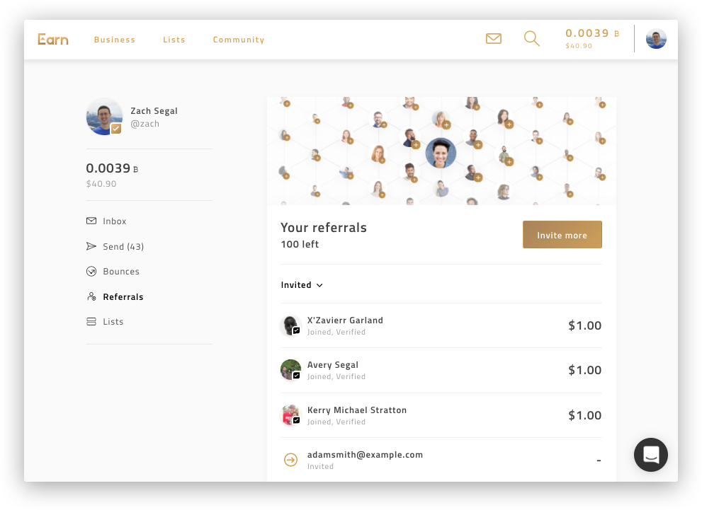 Get 100 of free bitcoin for inviting people to earn track the status of every contact you have invited as well as view your total bitcoin earnings stopboris Images