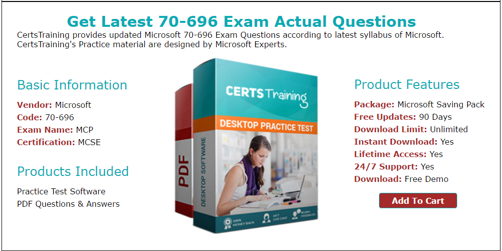 Latest And Updated Real Microsoft 70696 Mcp Exam Questions