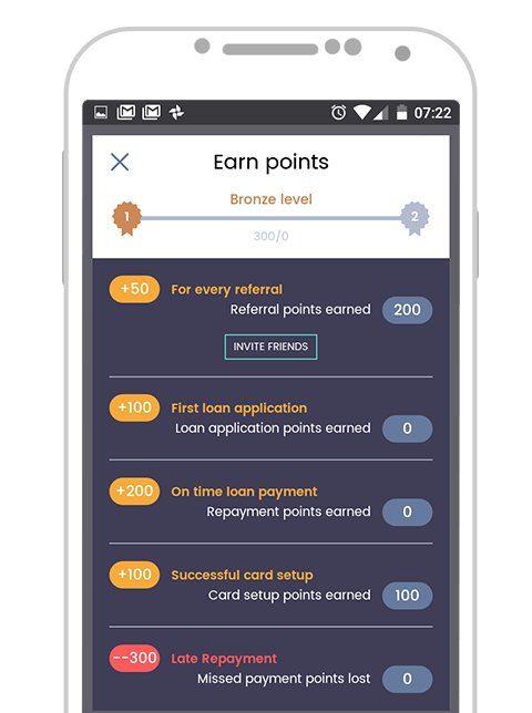 Paylater App v2 - Referral points