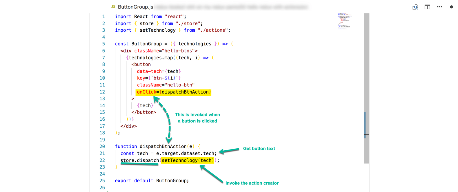 Understanding Redux The Worlds Easiest Guide To Beginning This If You Know What Are Doing Is Nothing For Beginners Like Already Storedispatch Expects An Action Object And Else Dont Forget Settechnology Creator It Takes In Button Text