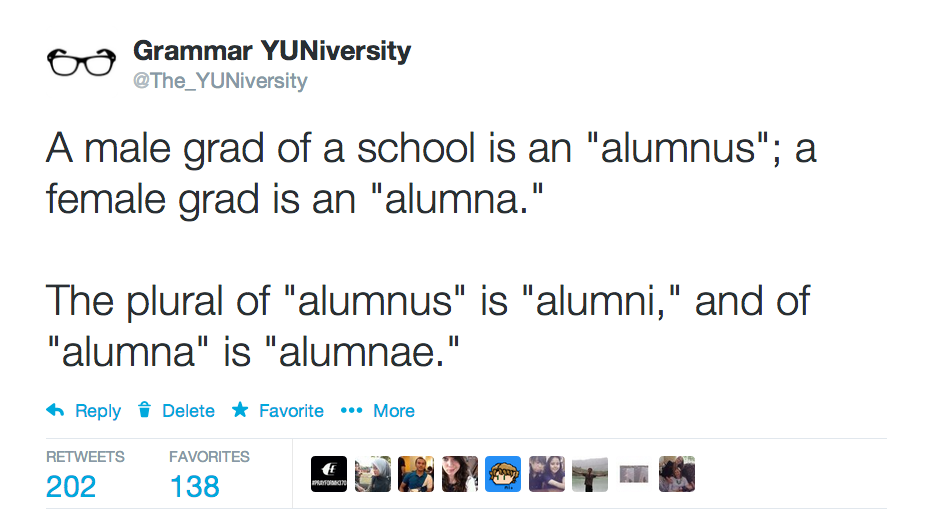 What is the plural of alma mater