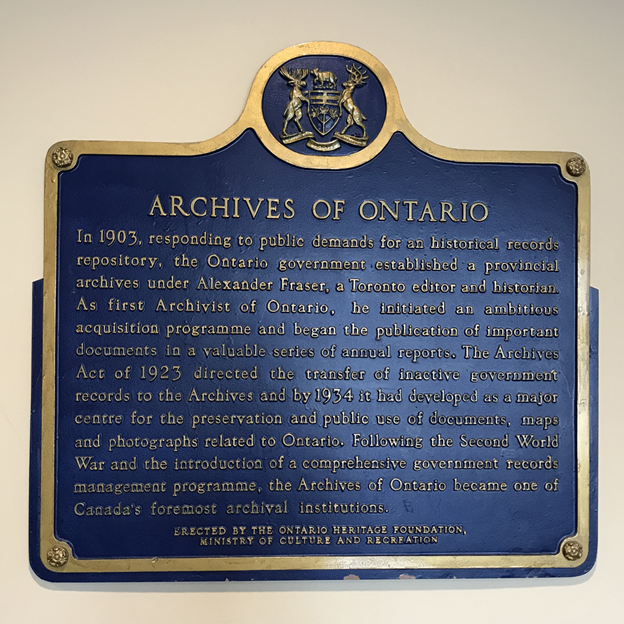 Archives Of Ontario Heritage Plaque Licensing