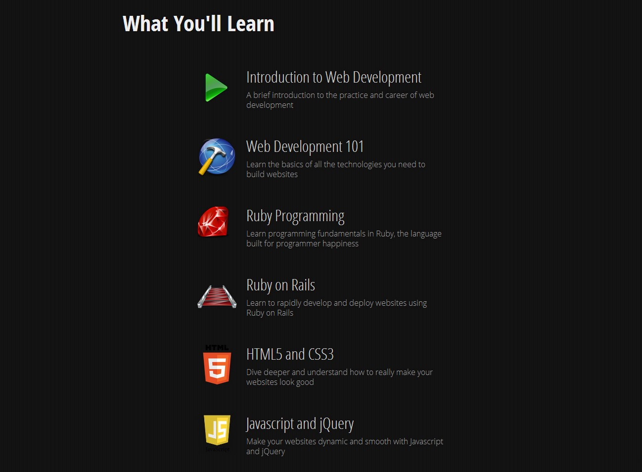Top free online resources to learn coding level up medium topics taught html css javascript jquery ruby programming ruby on rails baditri Image collections