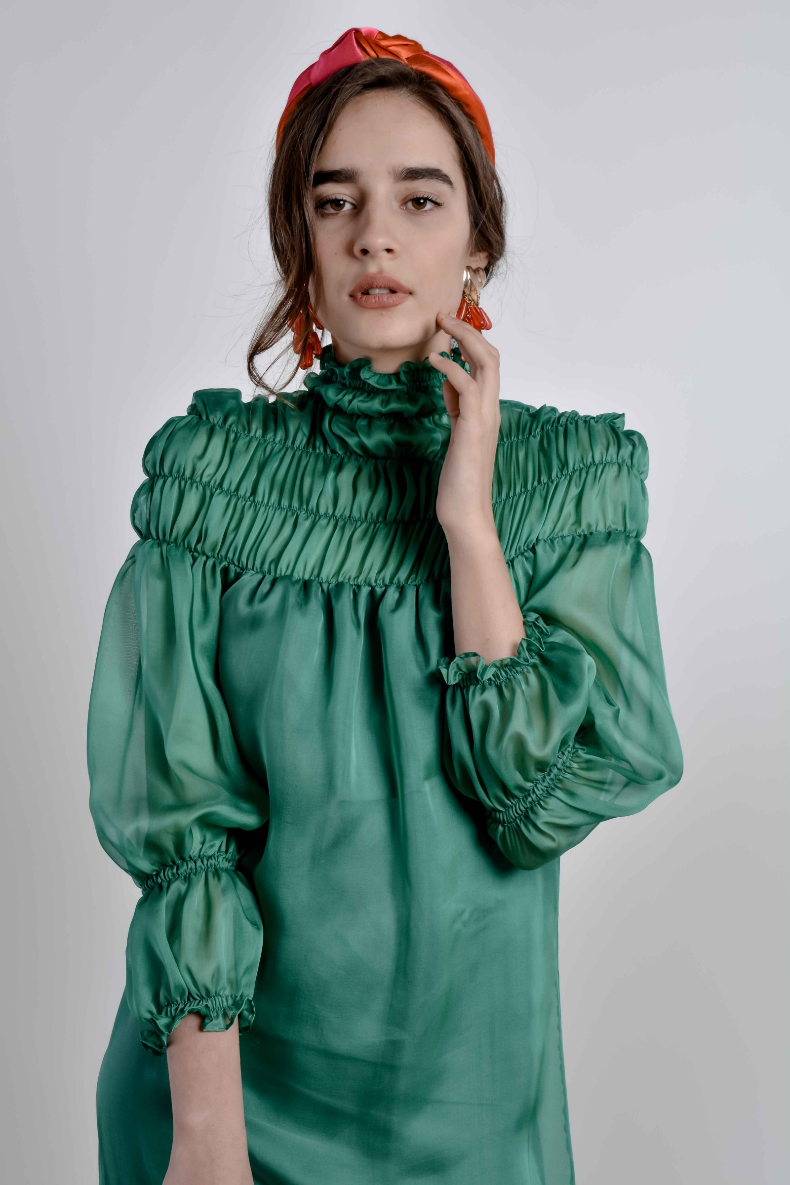 Green emerald turtleneck smocking maxi dress