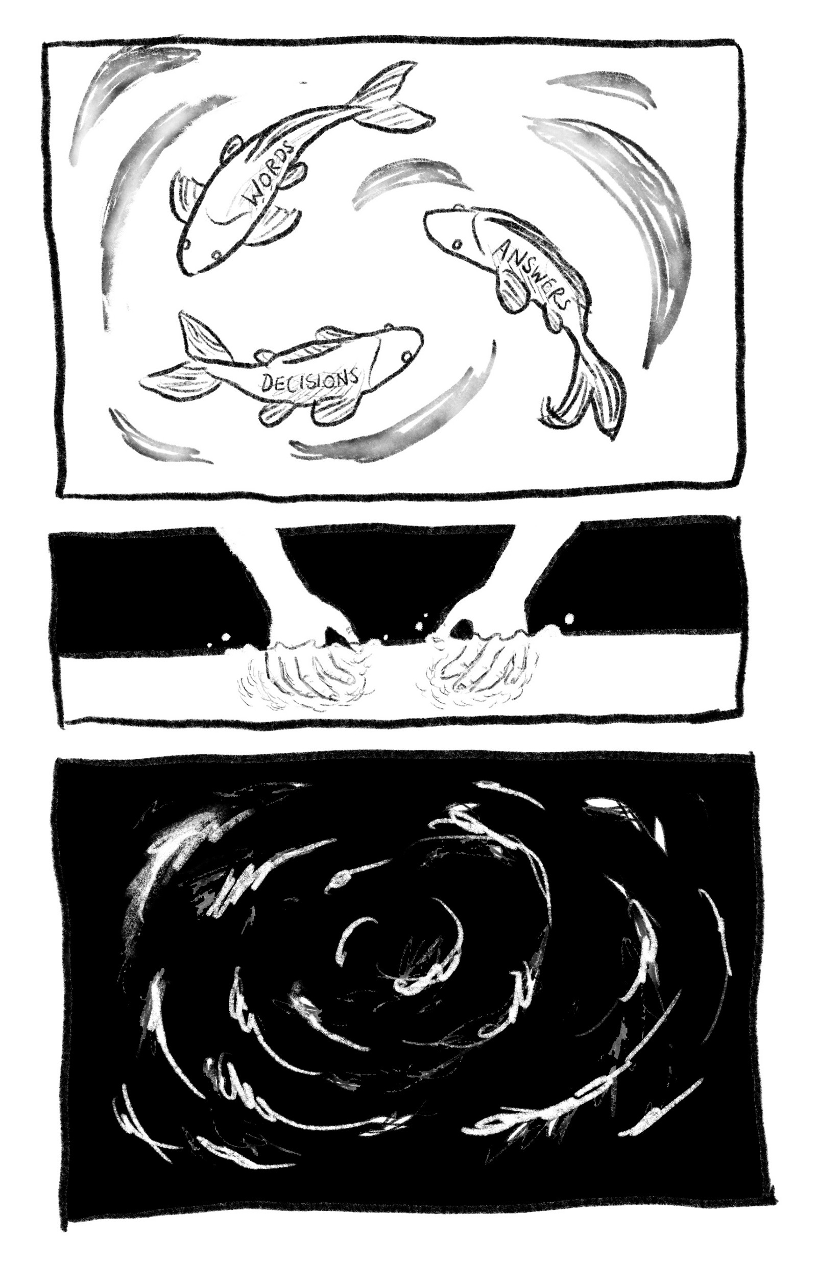 "Image description: a series of 3 sketches.  Sketch 1: three small fish swimming counterclockwise in a circle. The fish are labeled ""WORDS,"" ""DECISIONS,"" and ""ANSWERS."" Sketch 2: two white hands reaching into a pool of water.  Sketch 3: a spiral of white scribbles on a black background."