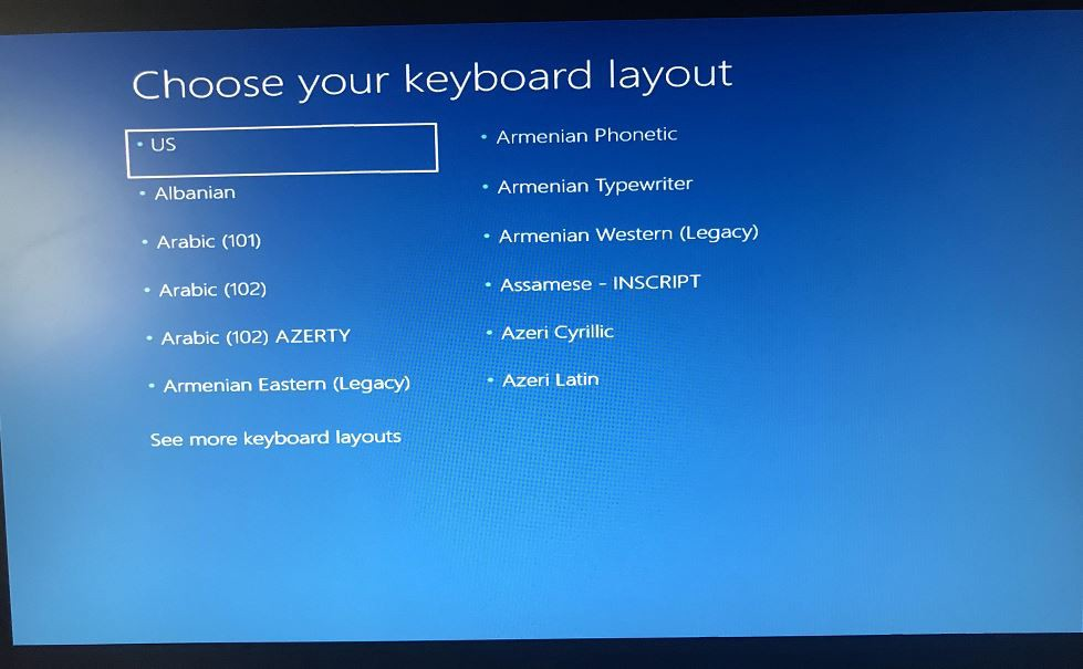 windows 10 upgrade stuck at choose your keyboard layout screen. Black Bedroom Furniture Sets. Home Design Ideas