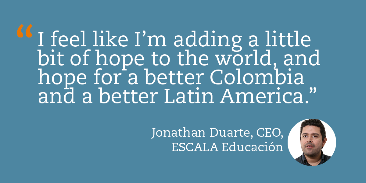 Jonathan Duarte, CEO of ESCALA Educación