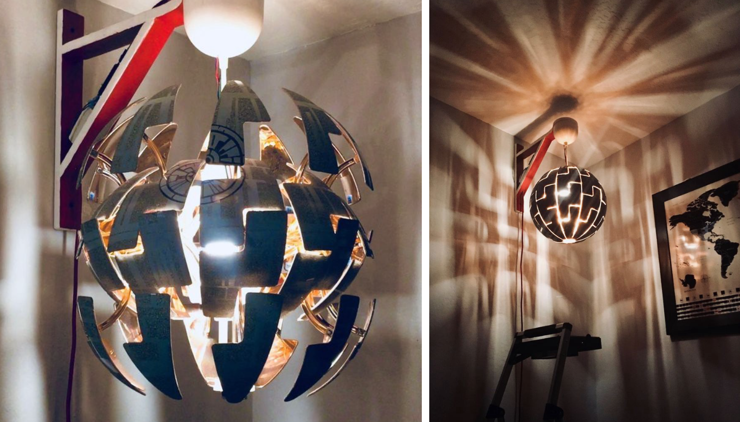 ikea lamp transformed into expanding death star hackster blog. Black Bedroom Furniture Sets. Home Design Ideas