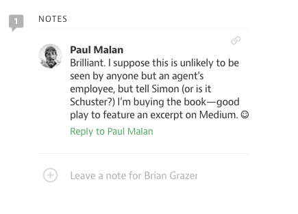 13 ways for authors to engage on medium 3 min read and book sales as this note on an excerpt from brian grazers book attests ccuart Choice Image
