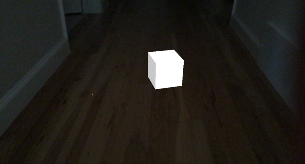 bright cube in dark room
