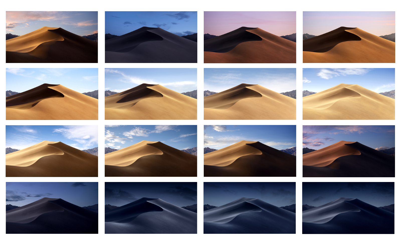 You can upload Mojave (Dynamic).heic file and you will see that in this single file there is 16 separate pictures taken in different day phase.