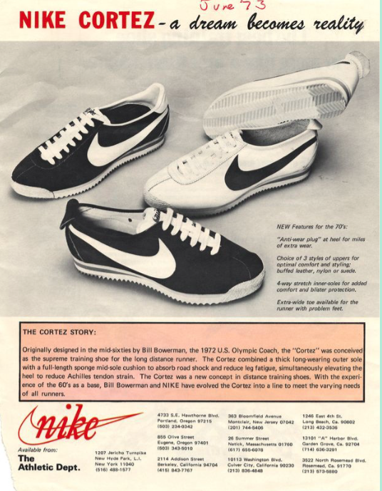 The shoe that started it all, the Nike Cortez
