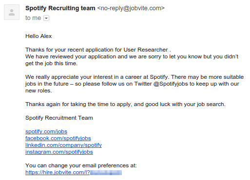reply to job rejection