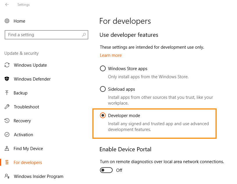 Setting up Linux command line feature on Windows 10