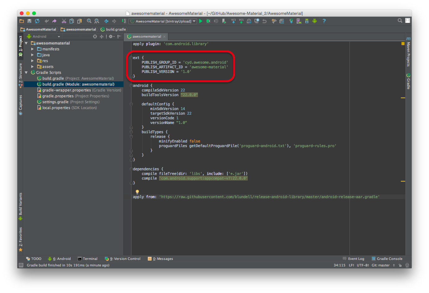 how to add library in android studio gradle