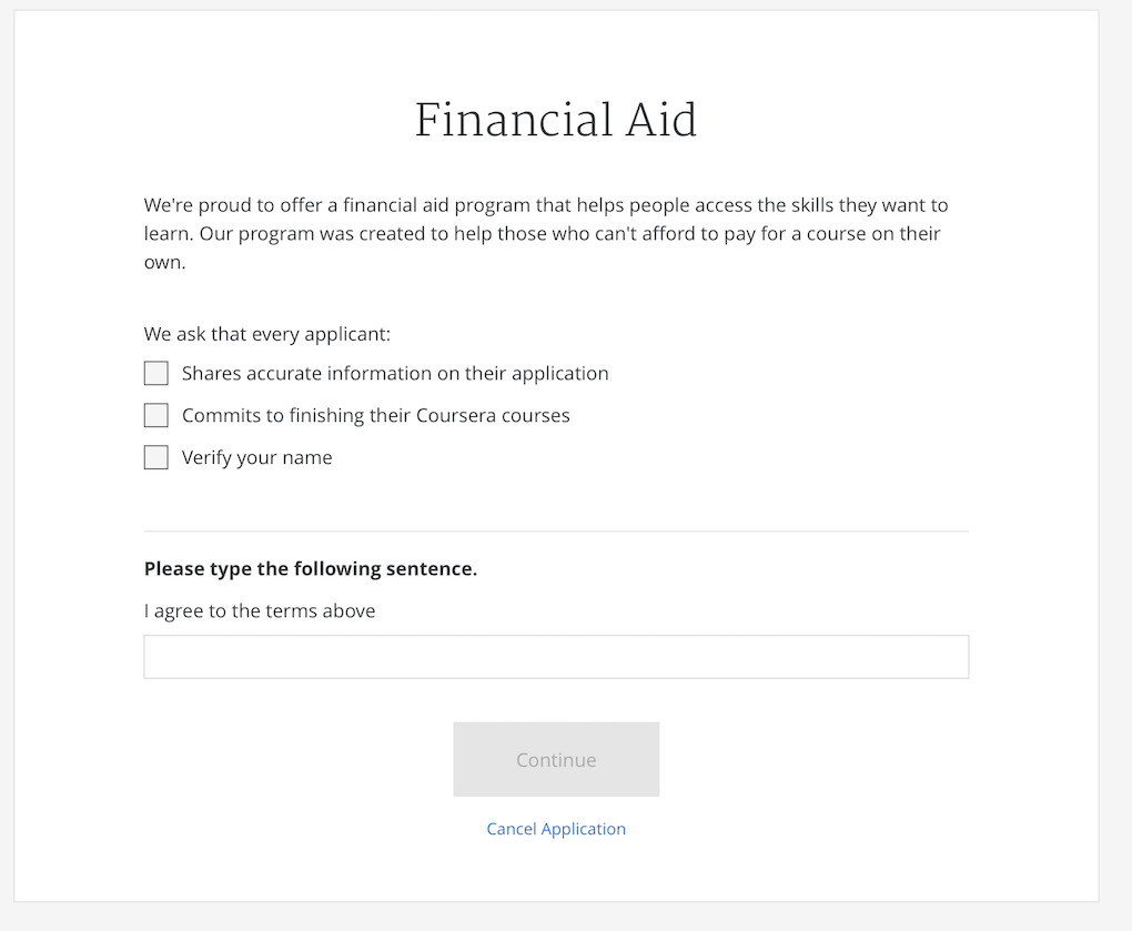 coursera financial aid answers