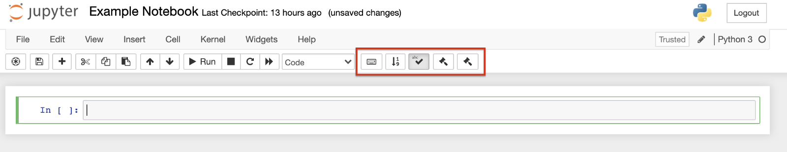 Extensions in a Jupyter Notebook toolbar