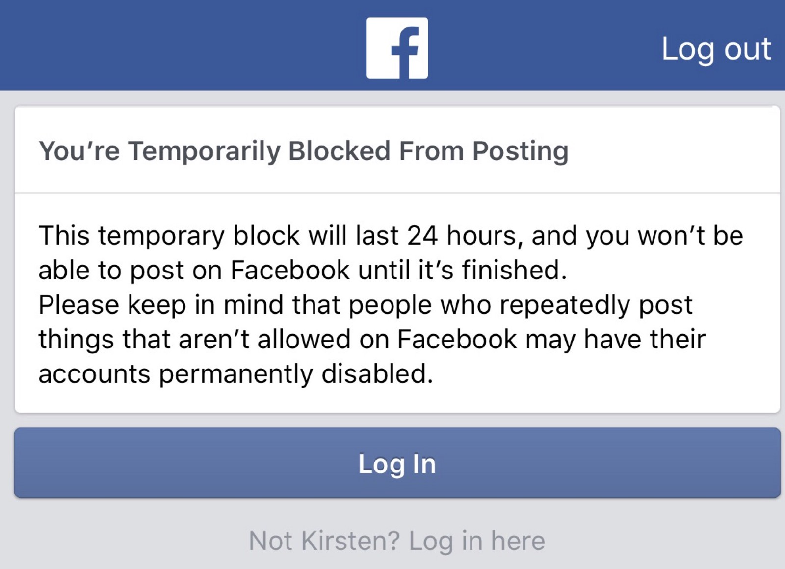 how to get past being blocked on facebook