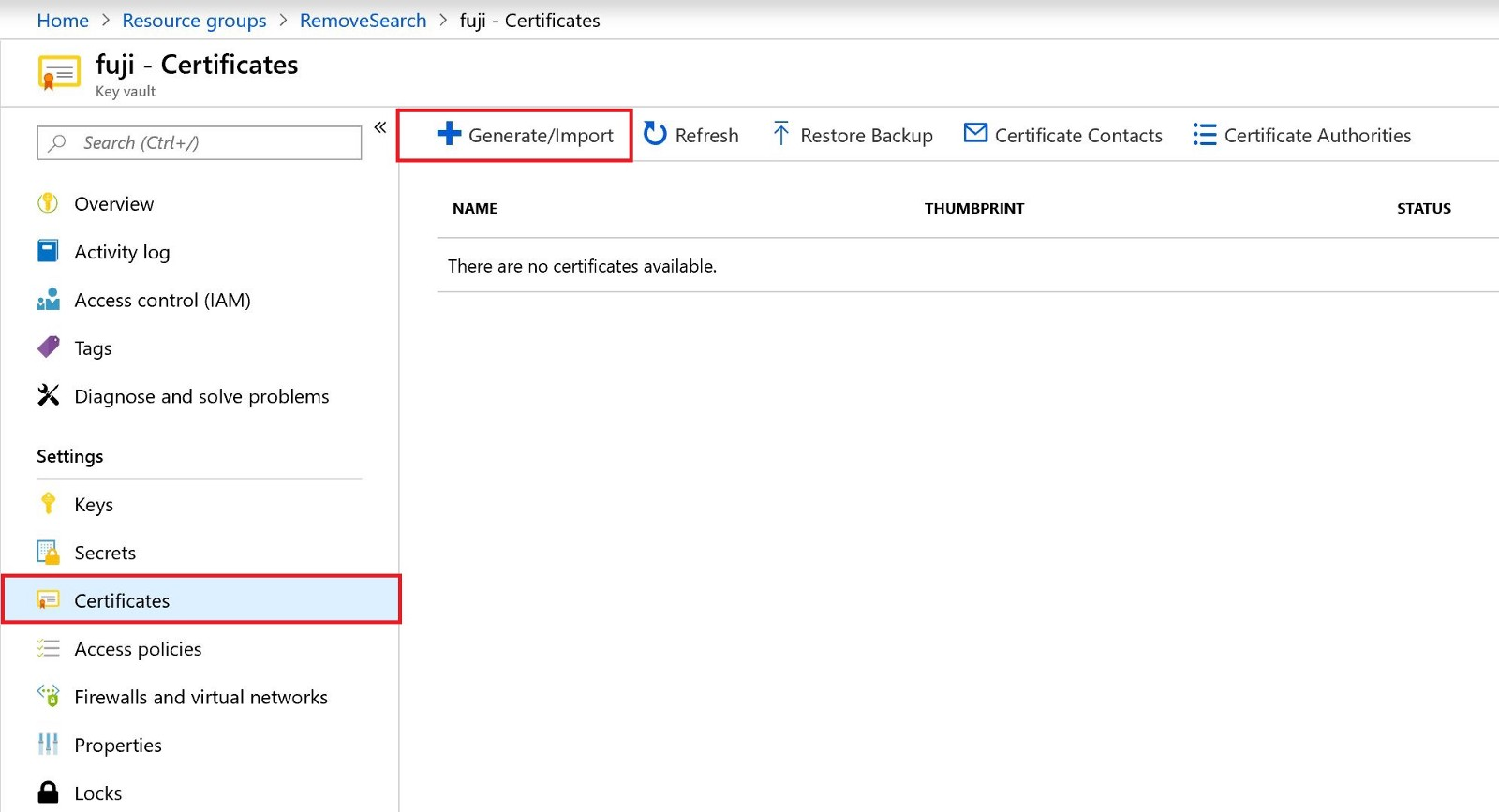 Generating Self Signed Certificate With Keyvalt And Enable To Access